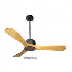 Ventilador de techo superdestratificador, Módulo, 132 cm, motor DC, gris basalto / madera clara, con termostato,Klassfan.