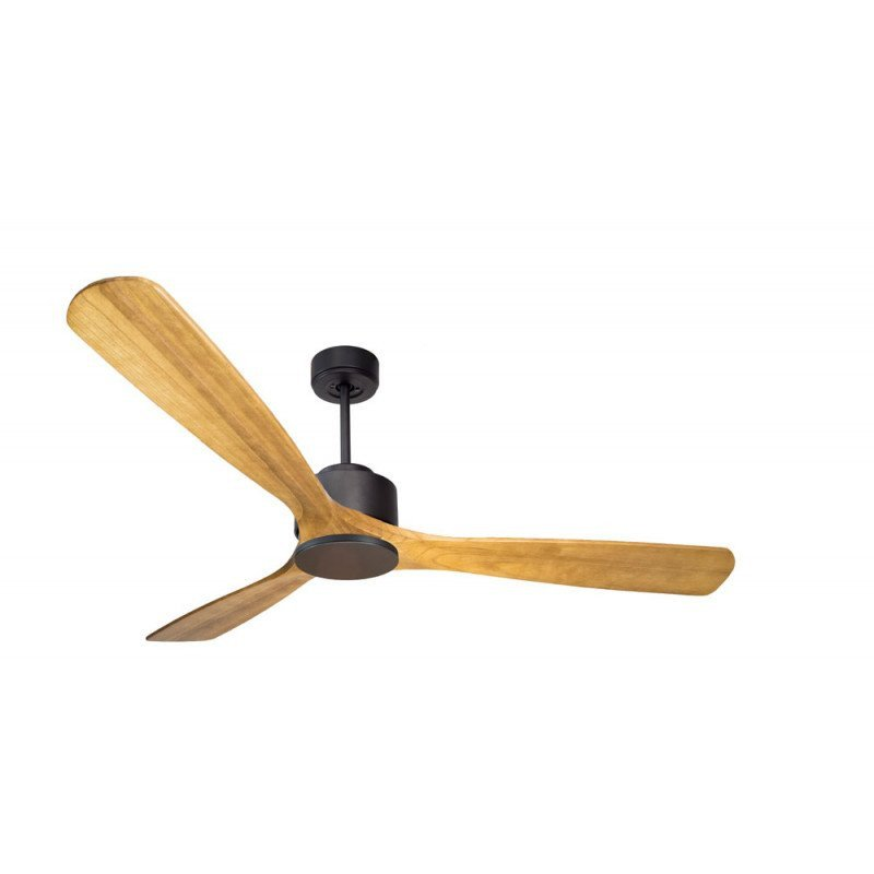 Ventilador de techo superdestratificador, Módulo, 166 cm, motor DC, gris basalto /madera clara, + termostato y wifi,Klassfan.