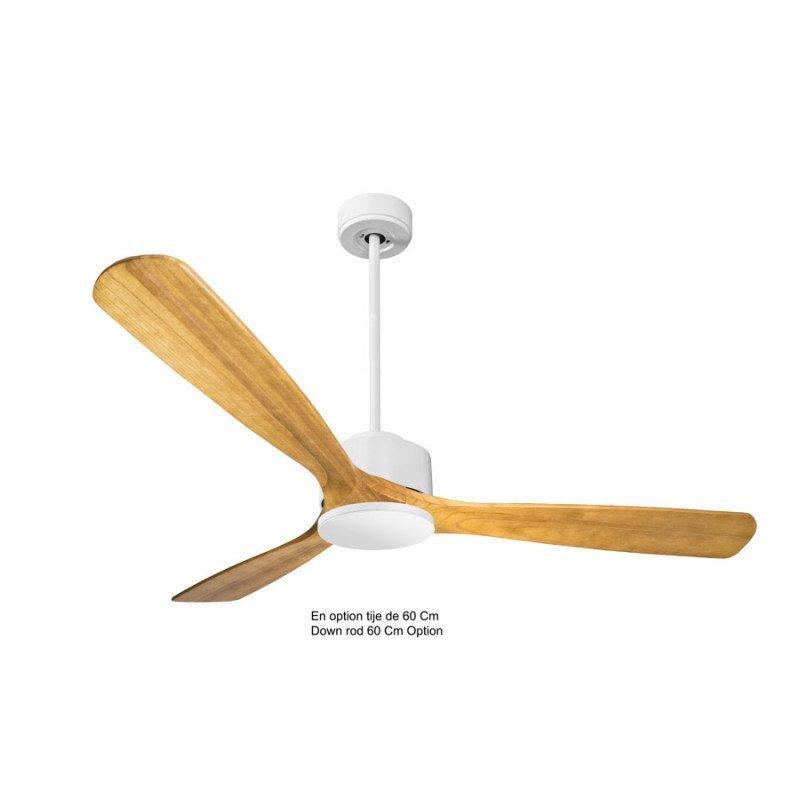 Ventilador de techo, Módulo, 166cm, cuerpo blanco/palas P6 de madera clara, termostato, Klassfan.