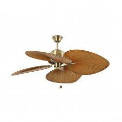 Ventilador de techo,CUBA B, 132 cm, tropical, exterior, palas oro envejecido/marrón, Faro.