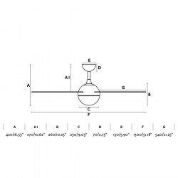 Ventilador de techo, Izaro LED, DC, 132cm, blanco/madera, luz LED, Faro.