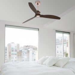 Ventilador de techo, Just Fan Copper, 128 cm, moderno, cobre y madera, hiper silencioso, reversible, Faro.