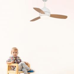 Ventilador de techo, Libellula, 92cm, DC, blanco/madera, con luz y mando a distancia, Lba Home.