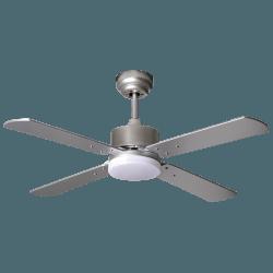 Ventilador de techo, Sevilla Silver, DC, 107cm, con luz LED, niquel/ plata/ haya, Lba Home.