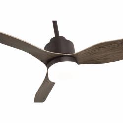 Ventilador de techo, Trispin Brown, 120 cm, cuerpo marrón/palas de roble, con luz LED, mando a distancia, Lba Home.