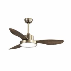 Ventilador de techo, Brass Wind, 120cm, cuerpo de cuero antiguo/ roble , con luz, moderno, Lba Home.