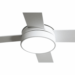 Ventilador de techo, Tube White, 132 cm, palas blancas/haya, con luz LED, mando a distancia, Lba Home.