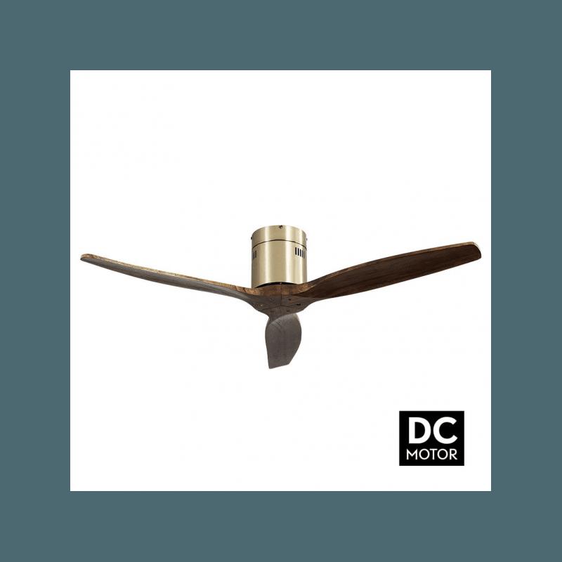 Ventilatore da soffitto, Short Brass, DC, 132 cm, DC, moderno, corpo ottone/rovere, Lba Home