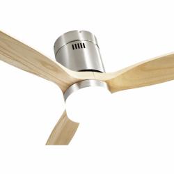 Ventilador de techo, Short Lt Slide Wood, DC, 132 cm, DC, moderno, cuerpo de niquel/palas de haya, con luz Lba Home.