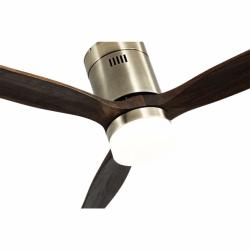 Ventilador de techo, Short Lt Brass, DC, 132 cm, DC, moderno, cuerpo de latón/roble, con luz LED, Lba Home.
