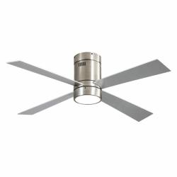 Ventilador de techo, Twist Lt Silver , 122 cm, cuerpo de niquel, palas de haya, plata, con luz LED, mando a distancia, Lba Home.
