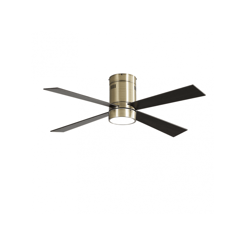 Ventilador de techo, Twist Lt Brass , 122 cm, cuerpo de latón, palas de roble/cerezo, con luz LED, mando a distancia, Lba Home.
