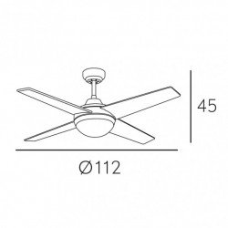Ventilador de techo, Elysa DC Haya , DC, 112cm, palas de doble cara haya/plata, con luz, Lba Home.