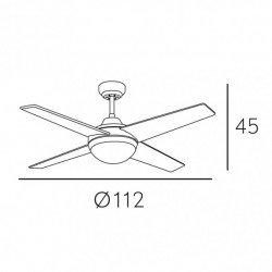 Ventilador de techo, Elysa DC Cherry, DC, 112cm, palas de doble cara cereza / nogal, con luz, Lba Home.