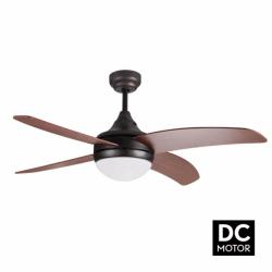 Ventilador de techo, Artus DC Rustic, DC, 116cm, palas marrón oscuro/nogal, con luz, mando a distancia, Lba Home.