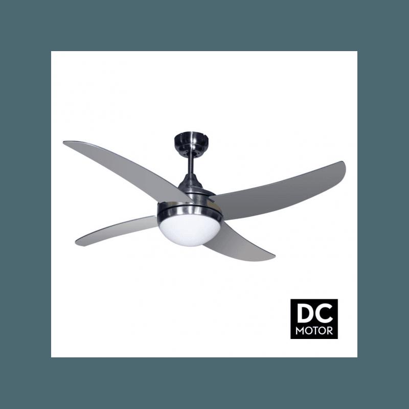 Ventilador de techo, Artus DC Silver, DC, 116cm, cuerpo de niquel/palas plateadas, con luz, mando a distancia, Lba Home.