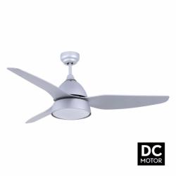 Ventilador de techo, Bell Silver DC, 132cm, con luz, cuerpo gris plata/plata y palas de haya, Lba Home.