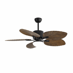 """Ventilador de techo, Fiji, 132cm, cuerpo negro/palas con diseño de """"hoja de..."""