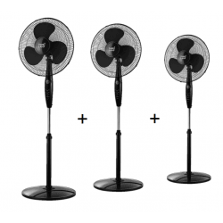 Tres ventiladores de pie, Inverna , 40W, negro, con mando a distancia + temporizador, Lba Home