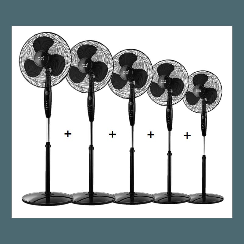 Cinco ventiladores de pie, Inverna , 40W, negro, con mando a distancia + temporizador, Lba Home