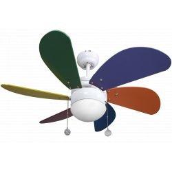 Ventilador de techo, Colores, 85cm, multicolor, con luz, clásico, Lba Home.