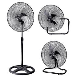 Ventilador 3 en 1, Maloja, nº 5 unidades, 70 W, metal negro/cromo, Lba Home.