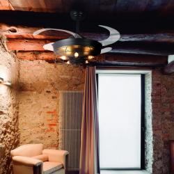 Ventilador de techo, Brown Shadow, DC, 107cm, palas retráctiles, cuerpo negro, portalámparas en forma de jaula, Lba Home.