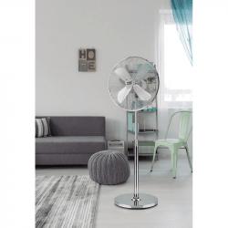 Ventilador de pie, Pali , 50W, blanco, metal cromado, Lba Home.