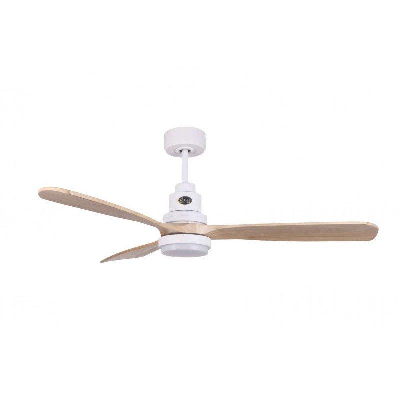 Ventilador de techo, Lanzarote WI SW-LT, 132 cm, DC, cuerpo blanco/madera clara, control remoto y Wifi, termostato, Klassfan