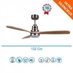 Ventilador de techo,Lanzarote CH SWLT, 132 cm, DC, cromo/madera clara, LED, Wifi, termostato, Klassfan