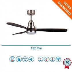 Ventilador de techo, Lanzarote CH DW LT , 132 cm, DC, cromo/madera oscura, LED, Wifi, termostato, Klassfan