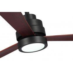 Ventilador de techo, Nass Black, 132 cm, DC, diseño, negro mate/madera oscura, luz LED + regulador, wifi, termostato, Klassfan