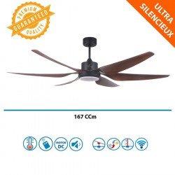 Ventilador de techo destratificador, Urikane, 166cm, DC, palas abs madera, LED, wifi, termostato, Klassfan