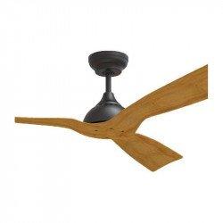 Ventilador de techo, Waterwind Wi IP44, 132cm, cuerpo negro/palas de madera, mando a distancia+wifi, Klassfan