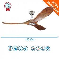 Ventilador de techo, Geronimo  BS-DW, 132cm, DC, aspas madera / cuerpo cromado, wifi, termostato, con mando, Klassfan