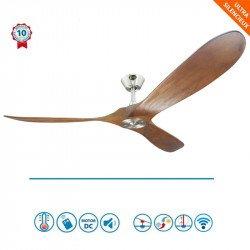 Ventilador de techo, Geronimo BS-DW, 152cm, DC, aspas madera/ cuerpo cromado, wifi, termostato, con mando, Klassfan.