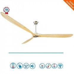Ventilador de techo, Geronimo BK-SW, 223cm, DC, aspas madera clara/ cuerpo cromado, wifi, termostato, Klassfan.