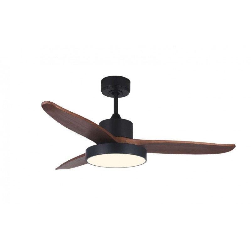 Ventilador de techo, Dark Wind, 122cm, DC, aspas madera/cuerpo negro opaco, LED+dimmer, wifi, termostato, Klassfan.