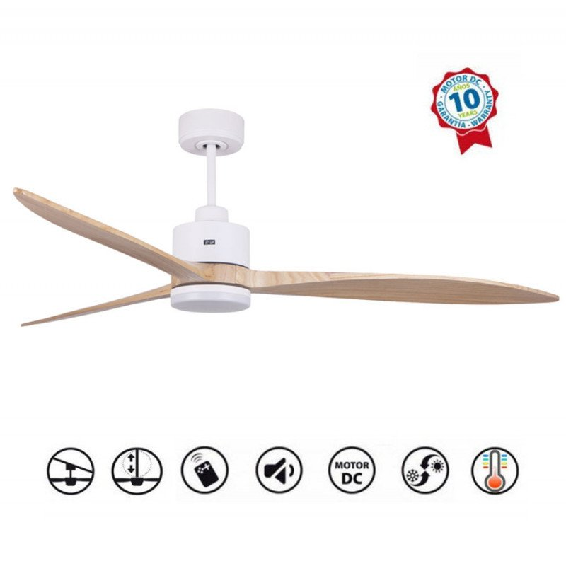 Ventilador de techo, Melton LT, 166cm, aspas madera clara/cuerpo blanco, LED+dimmer, wifi, termostato, Klassfan.