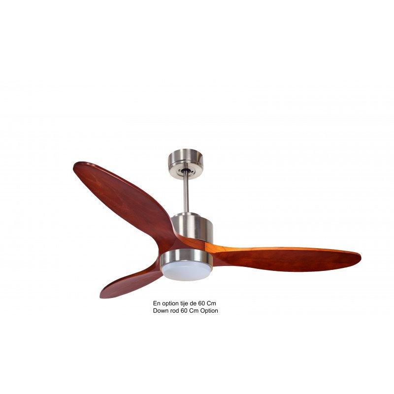 Ventilador de techo, Módulo, 132 cm, DC, cromo/madera, superdestructor, termostato, wifi, LED klassfan