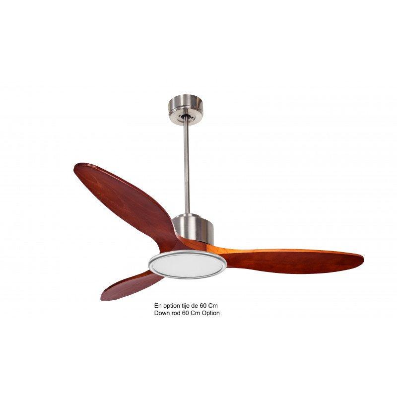 Ventilador de techo-destratificador, Módulo, 132 cm, DC, cromo/madera, termostato, wifi, luz LED, klassfan