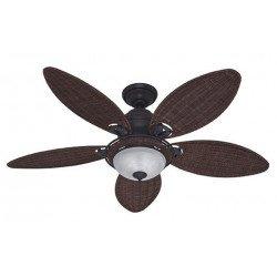 ventilador de techo, Hunter, Caribean Dream, de bronce patinado, palas de mimbre con luz 137 cm