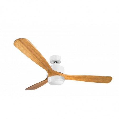 Ventilador de techo, Módulo, 166cm, cuerpo blanco y aspas madera clara, termostato y wifi, punto de luz LED, Klassfan