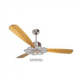 Ventilador de techo-destratificador, Módulo, 166 cm, DC, cuerpo cromado/aspas...
