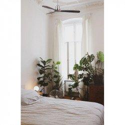 Ventilador de techo, Mallorca , 132 cm, DC, cromo/madera oscura, Wifi, termostato, Lba Home
