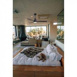 Ventilador de techo, Menorca Light, 132 cm, DC, gris basalto/madera oscura, mando a distancia y Wifi, LED, Klassfan