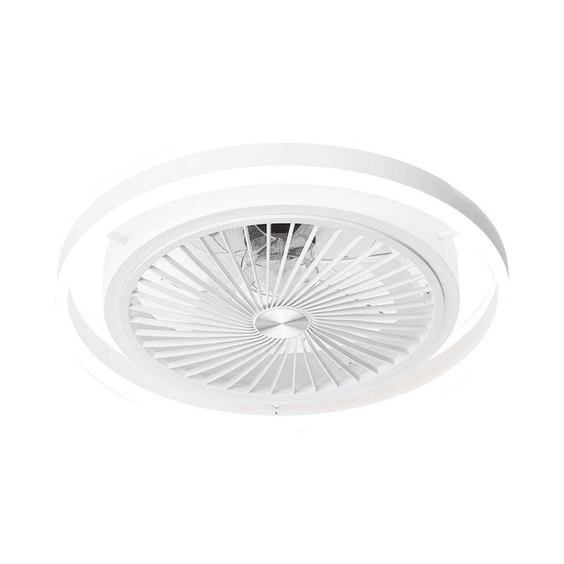 Ventilador de techo con aspas ocultas, Prospero , cuerpo de  blanco/ aspas transparente, con luz, Lba home.