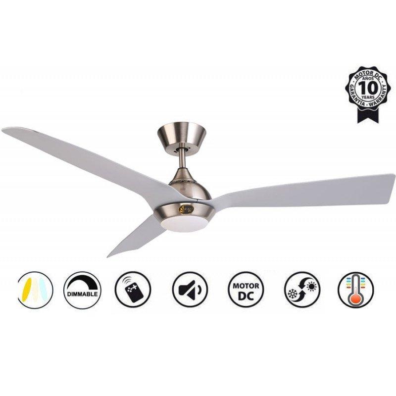 Ventilador de techo, Hackney II Silver , 132 cm, diseño, cromo/plata, DC, LED+dimmer, IP20, wifi, Klassfan