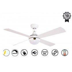Ventilador de techo, Riaica II, DC, 122cm, blanco/plata, LED, control remoto, wifi, Klassfan