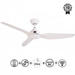 Ventilador de techo, Tramontana, IP44, 132cm, ideal para exteriores, blanco, control remoto+wifi, Klassfan